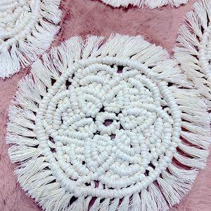 🆕🌸Handmade Boho Macrame Flower Coasters (Set 4)